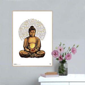 Grafisk plakat med tekst om Taknemligsbuddhaen.