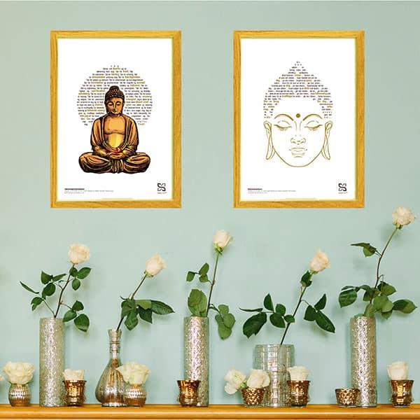 Boligindretning med spirituelle plakater. Buddha