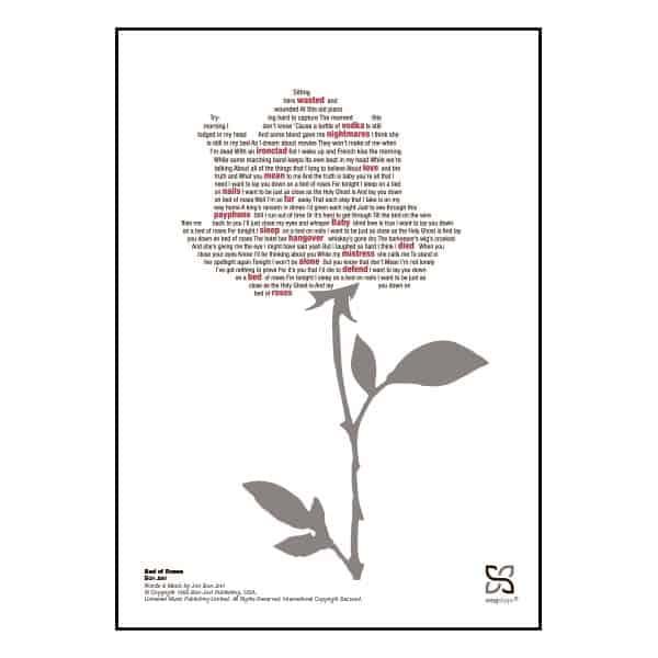 "Enkel og ikonisk plakat med Bon Jovi's ""Bed of Roses""."