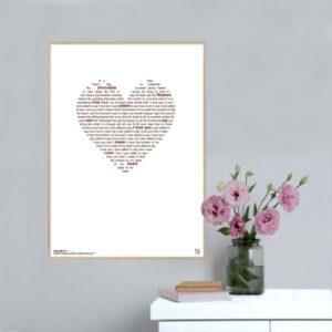 Flot plakat med Stevie Wonder's 'I Just Called To Say I Love You' opsat i grafisk form.