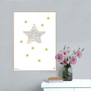 """Grafisk plakat med sangteksten til """"Du som har tændt millioner af stjerner"""" - kendt fra Højskolesangbogen. Plakaten fås i 5 størrelser."""