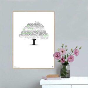 """Plakat med teksten til """"Livstræet"""" skrevet af Erik Lindebjerg."""