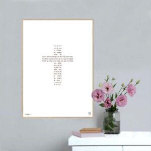 Køb en flot plakaten med teksten til den kristne bøn, Fader Vor i form af et kors.