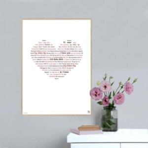 """Flot tekstplakat med """"Jeg elsker dig"""" - skrevet på på alverdens sprog. Den perfekte gaveidé til din eneste ene."""