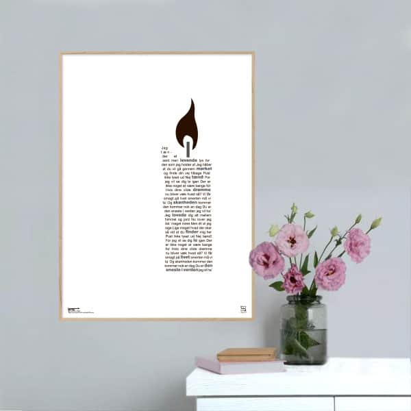 """Plakat med sangteksten til Michael Falchs """"Den eneste i verden""""."""