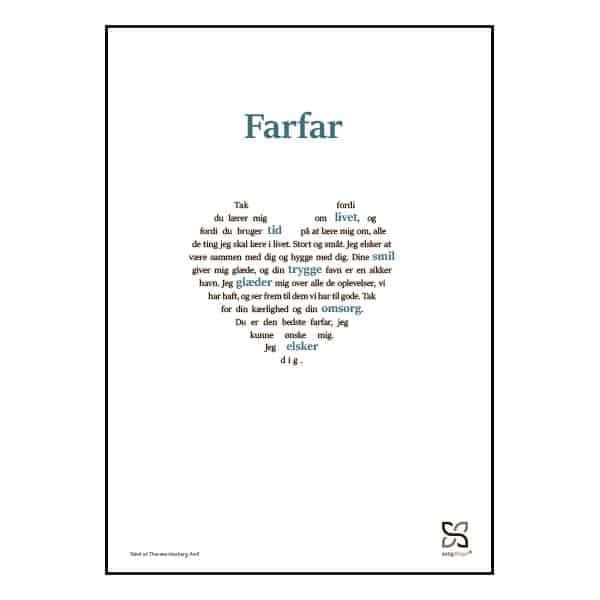 Grafisk plakat med en tekst, der hylder Farfar