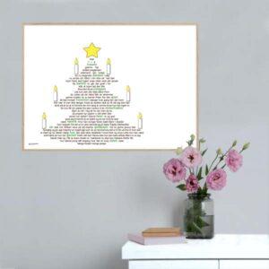 Juleplakat med 'Højt fra træets grønne top' af Peter Faber