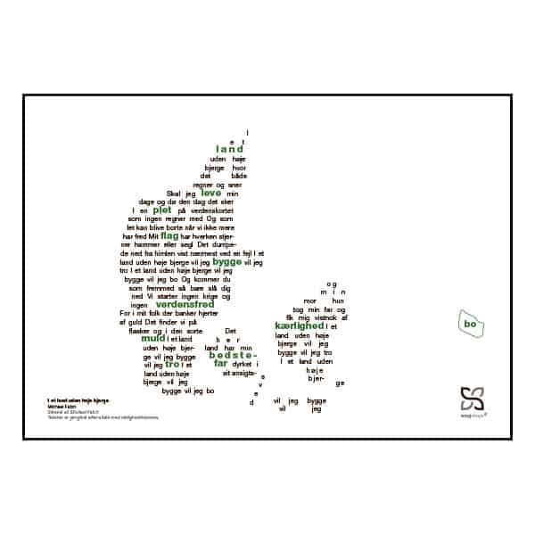"""Plakat med sangteksten til Michael Falchs """"I et land uden høje bjerge""""."""