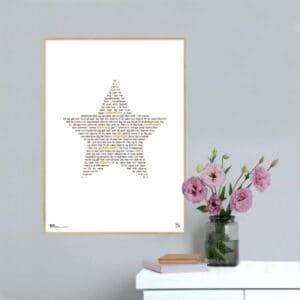 """Plakat med sangteksten til Michael Falchs """"Min Stjerne""""."""