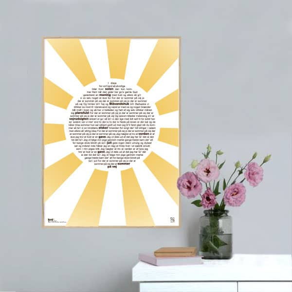 "Plakat med sangteksten til Michael Falchs ""Sommer på vej""."