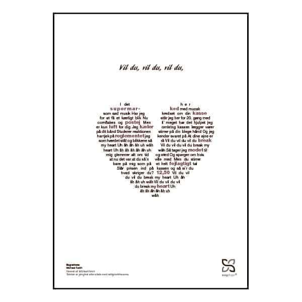 """Plakat med sangteksten til Michael Falchs """"Superlove""""."""