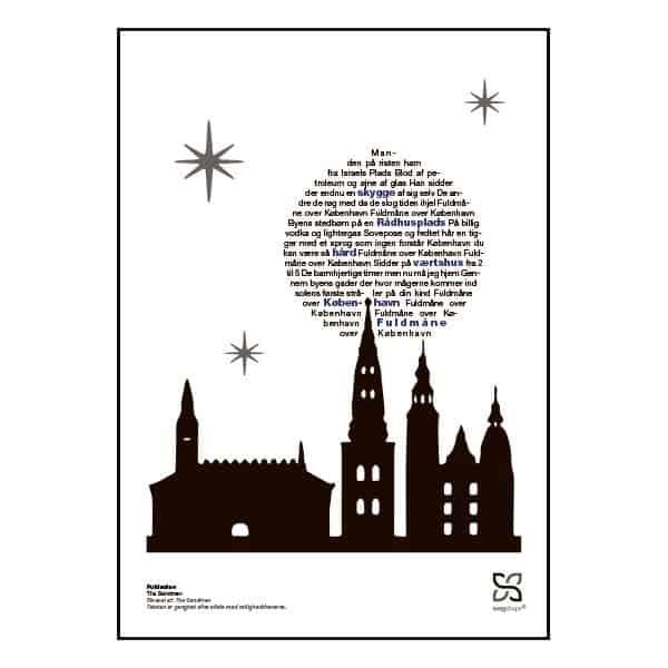 """Plakat med sangteksten til """"Fuldmåne"""" af The Sandmen."""