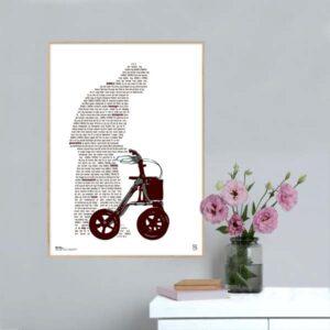 """Plakat med sangteksten til """"Gamle dreng"""" af Jonny Hefty & Jøden."""