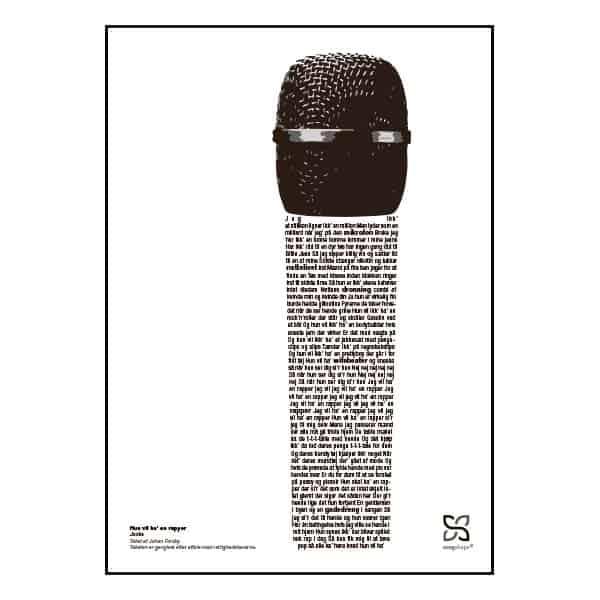 """Plakat med sangteksten til """"Hun vil ha' en rapper"""" af Jooks."""