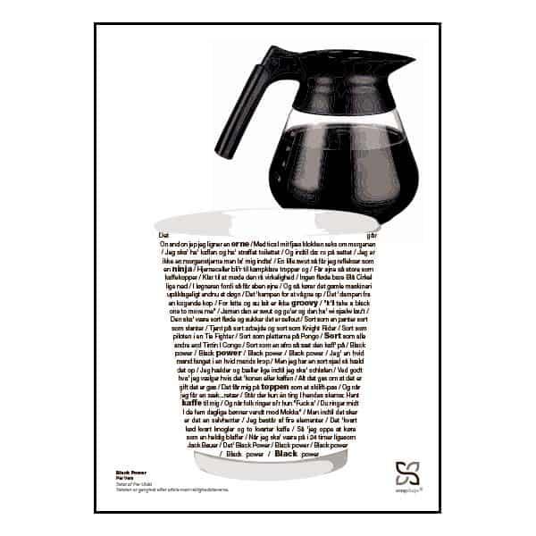 """Plakat med sangteksten til """"Black Power"""" af Per Vers."""