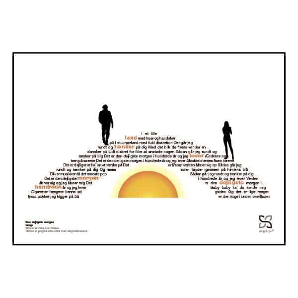 """Plakat med sangteksten til Gnags' """"Den dejligste morgen""""."""