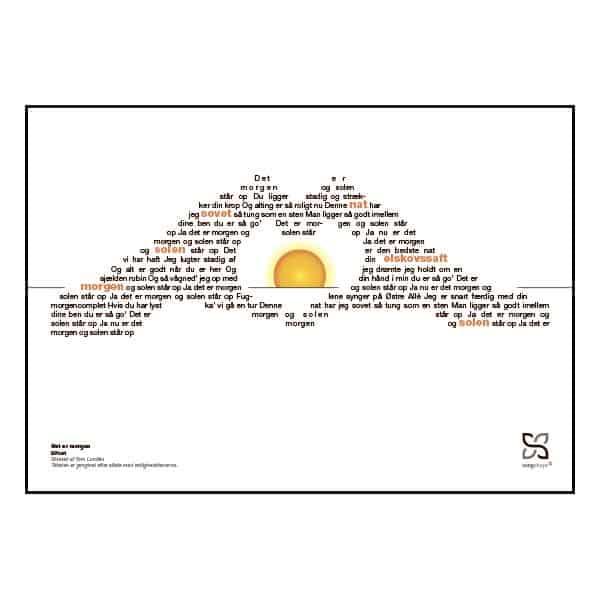 """Plakat med sangteksten til """"Det er morgen"""" af Bifrost"""