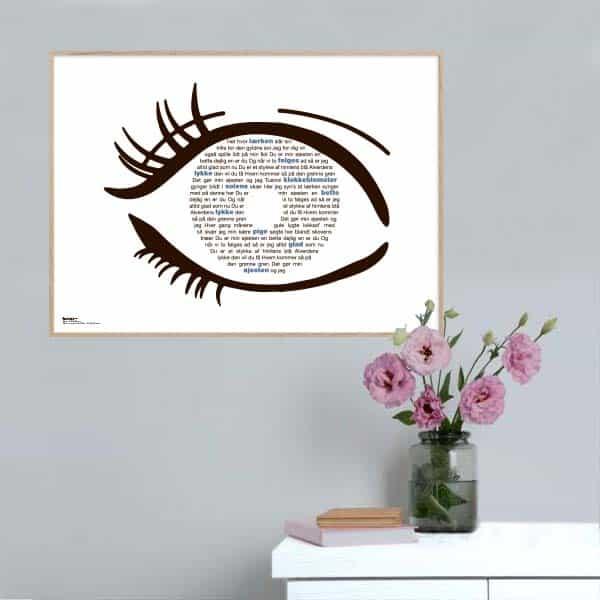 """Plakat med sangteksten til """"Du er min øjesten"""" af Peter Malberg"""