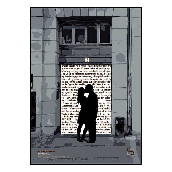 """Plakat med sangteksten til """"Jeg vil bo på Vesterbro"""" af Teddy Edelmann/Peter Belli"""