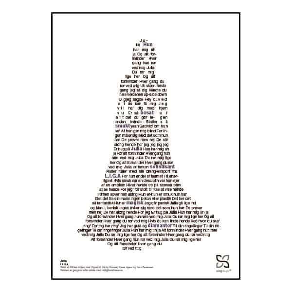 """Plakat med sangteksten til """"Julia"""" af L.I.G.A."""