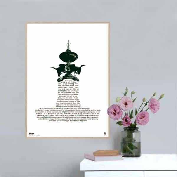 """Plakat med sangteksten til """"Storkespringvandet"""" af Cæsar"""