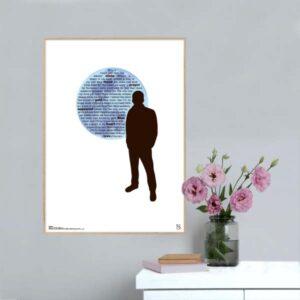 "Plakat med sangteksten til ""Blue Moon""."