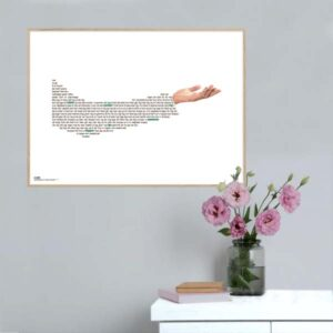 """Plakat med sangteksten til """"Tag min hånd"""" af Barbara Moleko"""