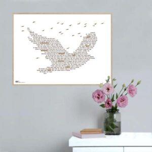 "Plakat med sangteksten til Michael Falchs ""De vildeste fugle""."