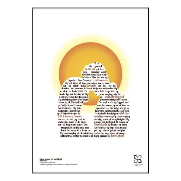 """Plakat med sangteksten til """"Ingen grænser for kærlighed"""" af Poul Krebs."""