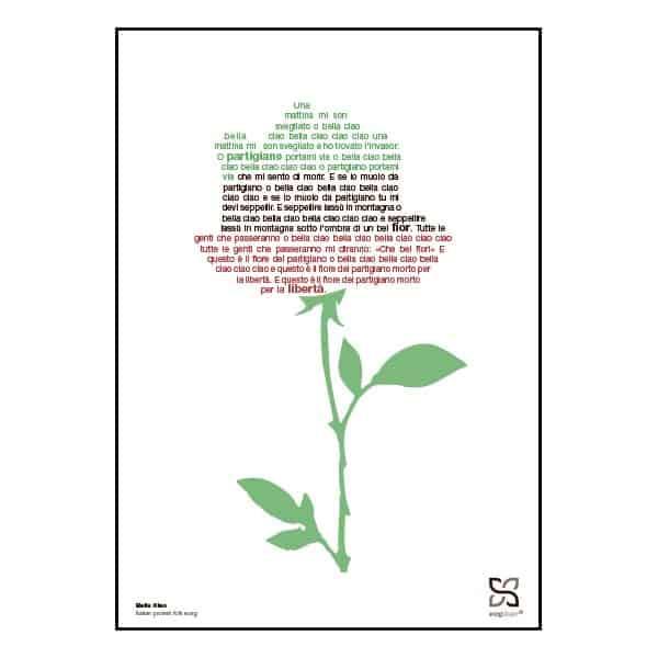 """Plakat med sangteksten til """"Bella Ciao"""""""