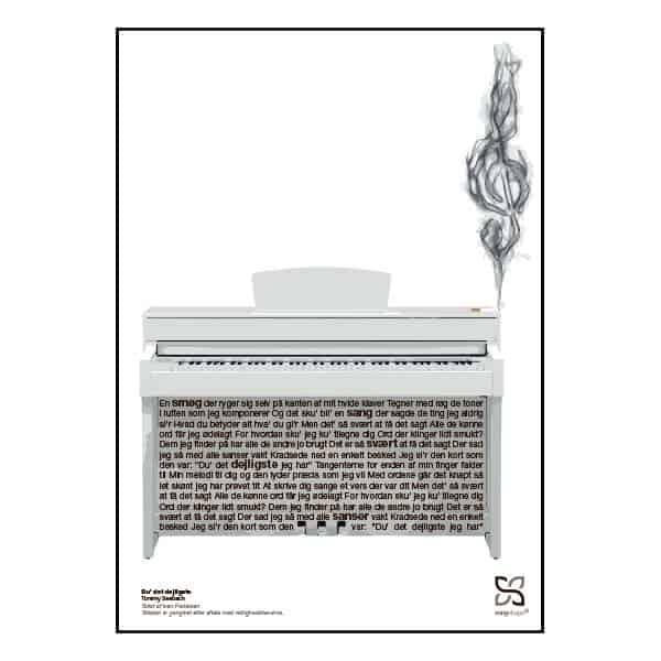 """Plakat med sangteksten til """"Du' det dejligste"""" af Tommy Seebach"""