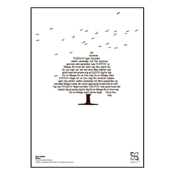 """Plakat med sangteksten til """"Lyse Nætter"""" af Alberte"""