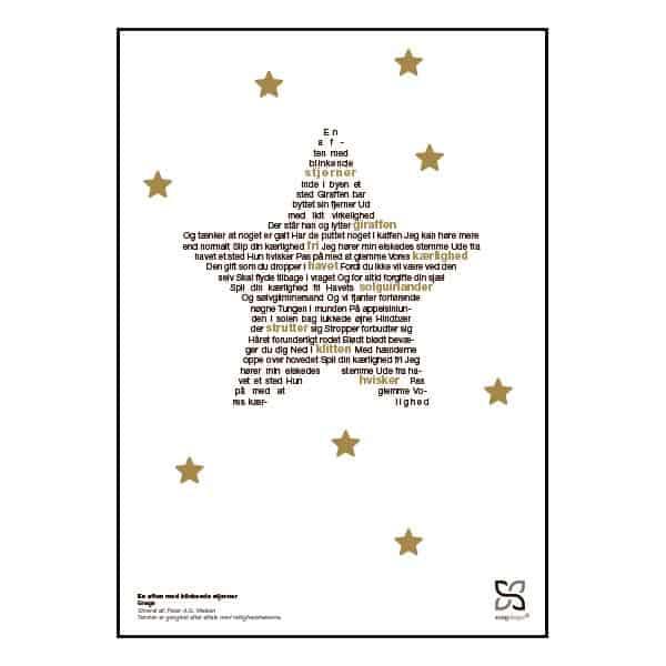 """Plakat med sangteksten til Gnags' """"En aften med blinkende stjerner""""."""