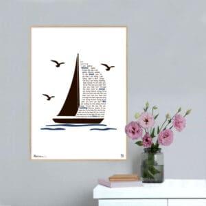 """Plakat med sangteksten til """"Sailing"""" af Rod Steward."""