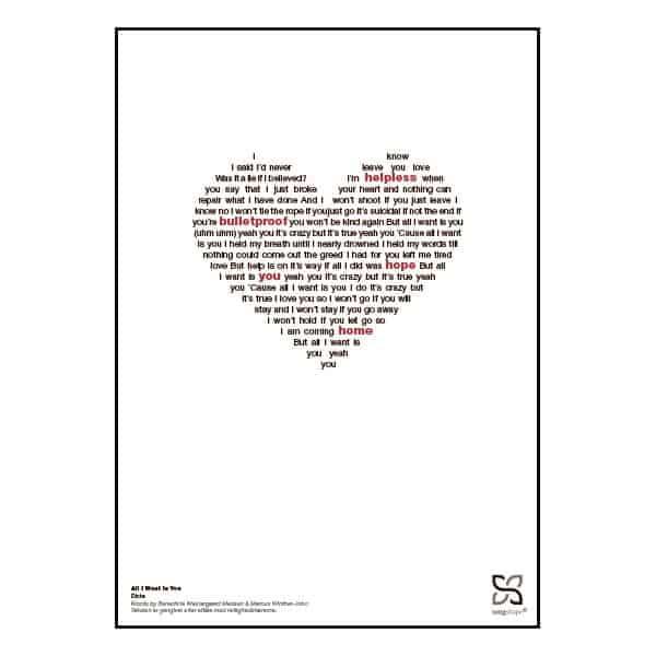 """Plakat med sangteksten til """"All I Want Is You"""" af Dicte"""