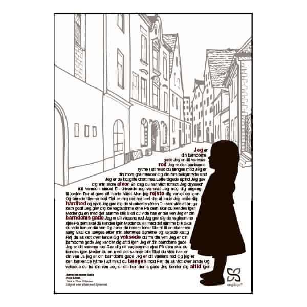 """Plakat med sangteksten til """"Barndommens Gade"""" af Anne Linnet."""