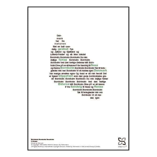 """Plakat med sangteksten til """"Bornholm Bornholm Bornholm"""" af Ib Mossin"""