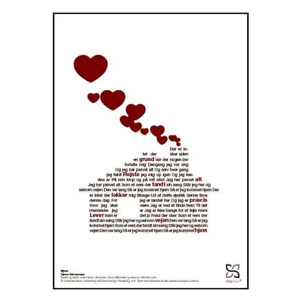 """Plakat med sangteksten til """"Hjem"""" af Sanne Salomonsen."""