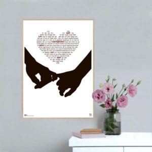 """Plakat med sangteksten til """"Lov mig det"""" af Tue West."""
