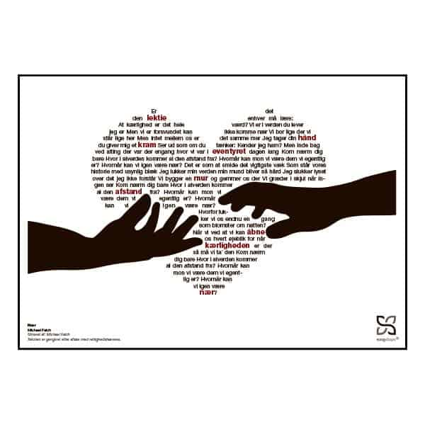 "Plakat med sangteksten til Michael Falchs ""Nær""."