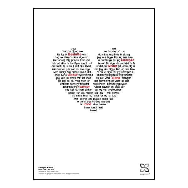"""Plakat med sangteksten til """"Kæmper ik imod"""" af Ricki Dale og JEV."""