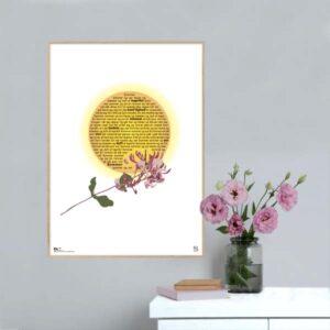 """Plakat med sangteksten til """"Sommer og sol"""" af Birthe Kjær."""