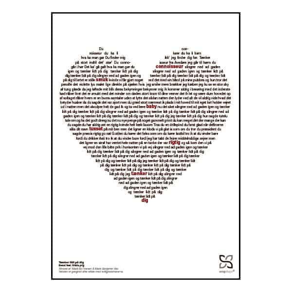 """Plakat med sangteksten til """"Tænker lidt på dig"""" af Benal."""