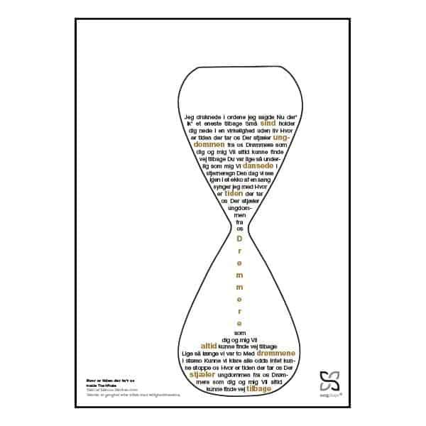 """Plakat med sangteksten til """"Hvor er tiden der ta'r os"""" af Inside The Whale."""