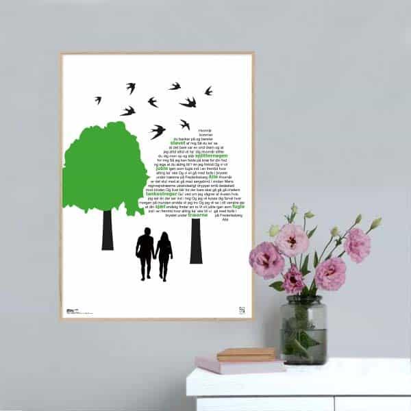 "Plakat med sangteksten til Michael Falchs ""Juble igen som fugle""."