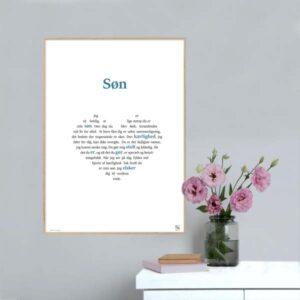 Grafisk plakat med en tekst, der hylder din Søn