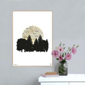 """Plakat med teksten til H.C. Andersens """"Hvor skoven dog er frisk og stor""""."""