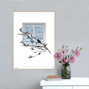 """Plakat med teksten til Ingemann's """"I sne står urt og busk i skjul""""."""