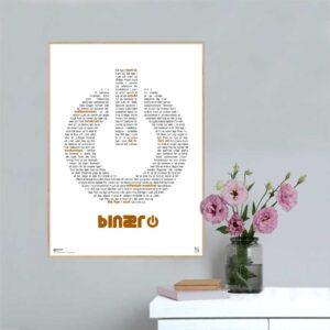 """Plakat med sangteksten til """"Millennium maskiner"""" af Binær"""