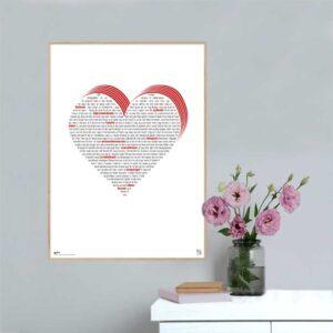 """Plakat med sangteksten til """"Seks Hjerter"""" af Bisse."""